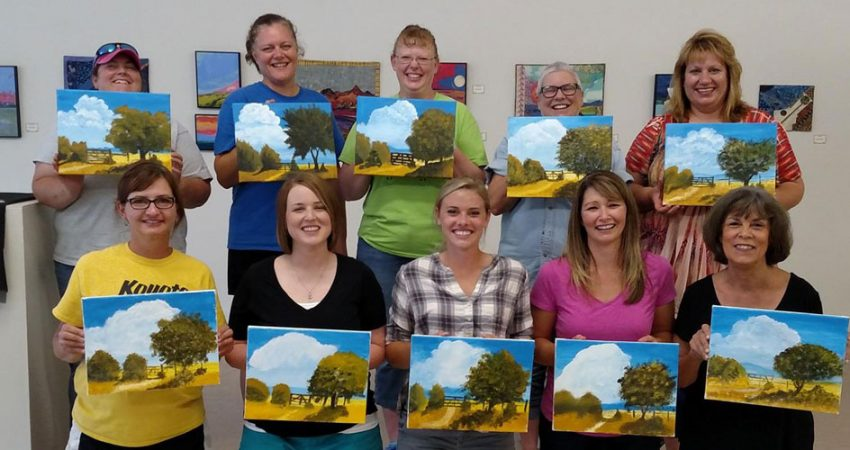 "New in 2016, the Lincoln Art Center began offering a wine and paint class each month, called ""Gogh Paint."""