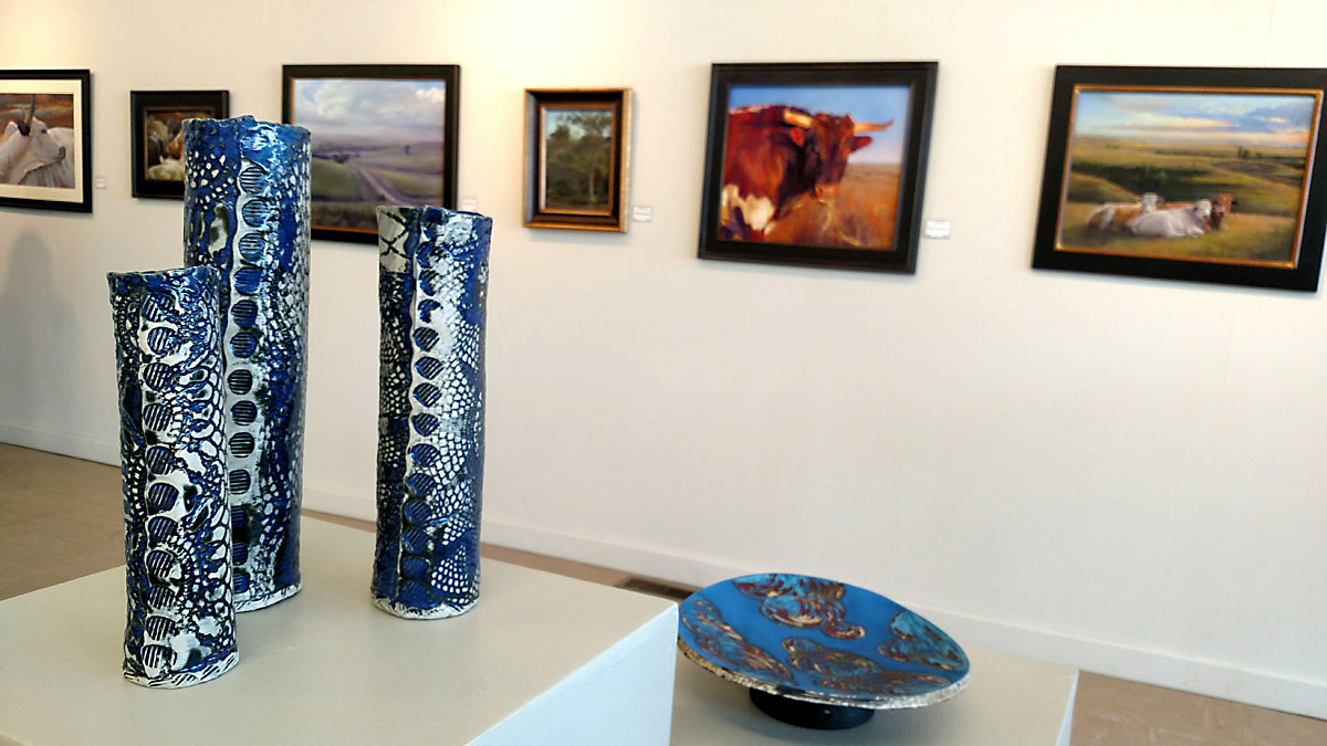 Jennifer Mettlen Nolan's ceramics and jewelry for the Paper & Fire exhibit on display through June 30, 2017.